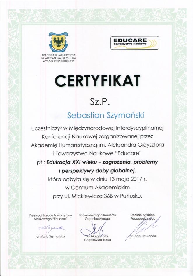 13.05.2017 PUŁTUSK Certyfikat